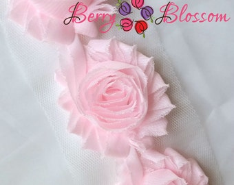 "2.5"" Powder Pink shabby flower trim - frayed chiffon - rose flowers by the yard - very light pink - JT powder pink"