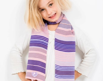 Pale Pink Scarf, Purple Scarf, Striped Scarf, Heart Scarf, Personalised Scarf, Birthday Gift, Girl's  Scarf, Winter Scarf,  270