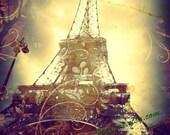 Paris Photography, Eiffel Tower Art Print, in Brown, Purple and Gold, Paris, Eiffel Tower Print,