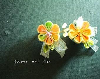 Yellow- Wedding Brooch-  Set of 2-Silk flower Brooch- groom brooch - Fabric Brooch - Fibre Brooch  - Custom Colour Brooch-Z78