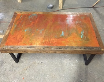 Copper and steel coffee table