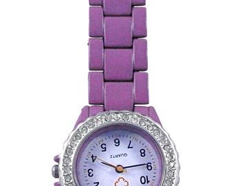 Custom engraved personalised purple nurses fob watch, quartz + gift pouch LR12