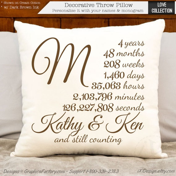 4 year anniversary cotton gift four year personalized
