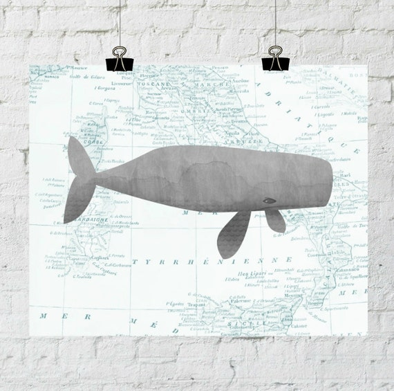 Whale Art, Nursery Art, Printable Map, Nursery Decor, Nautical Wall Decor, Wall art, Printable Art, Instant Download, ADOPTION FUNDRAISER
