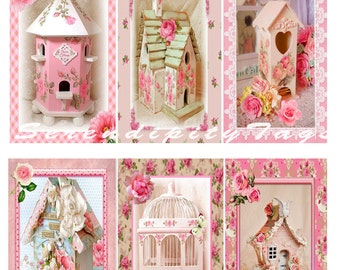 Shabby Birdhouse Tags - 2.5 x 3.5 inches.