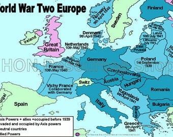 World War Two Europe Printable History Map Poster