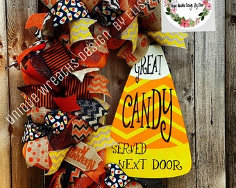 Ready To Shipped! Candy Corn Wreath, Halloween Wreath, Fall Wreath,Candy Corn