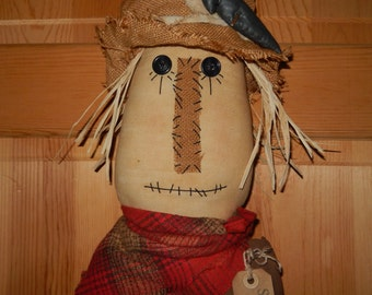 "Prim Scarecrow Head with Crow Fall Decor #4 - 15"" tall with Grungy Hang Tag    Ready to Ship"