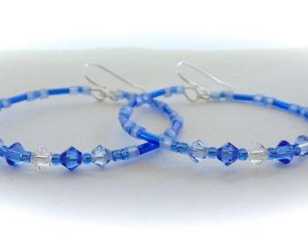Hoop Earrings, Beaded Earrings, Swarovski Crystals, Boho Earrings, Blue, Gypsy Earrings, Bohemian Earrings