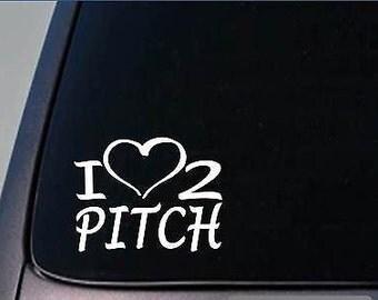 I Heart To Pitch Sticker *H244* 8 Inch Wide Vinyl Softball Baseball Glove