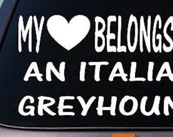 My Heart Belongs To A Italian Greyhound Sticker Decal *D989*