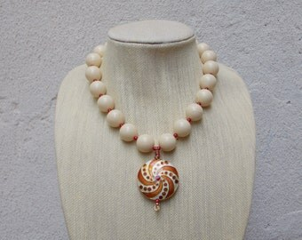 Large Round White Amber Bead Necklace, Round Cloisonne Pendant with Drop Earrings