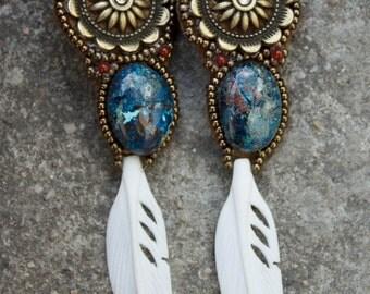 "Earrings embroidered semiprecious stone ""Kalyani"""