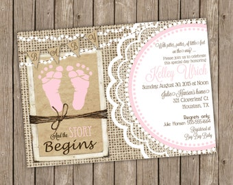 Rustic Baby Girl Shower Invitation in Pink with Footprints, Burlap and Lace Shower, Baby Feet