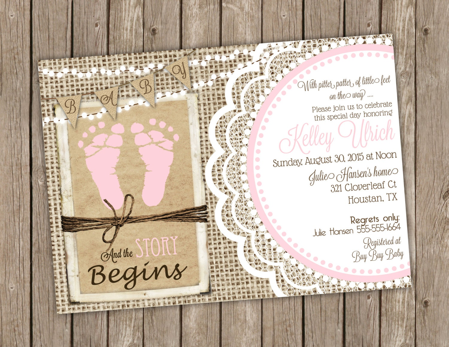 rustic baby girl shower invitation in pink with footprints