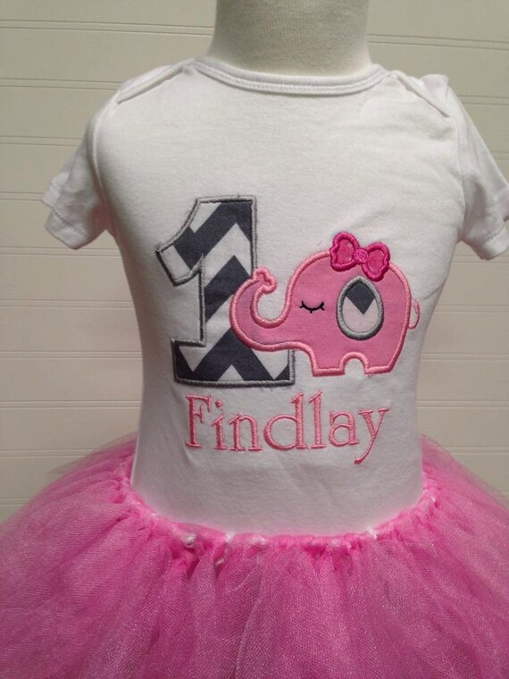 girls birthday elephant onesie, girls birthday shirt, first birthday onesie, pink and gray chevron baby girls birthday shirt