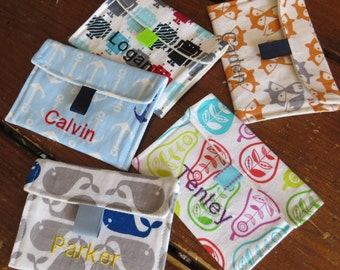 You Pick Fabric Snack Bags Personalization Optional 100% Cotton Reusable Velcro Snack Bags