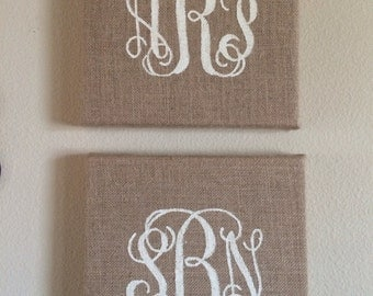 12x12 Monogram Burlap Canvas