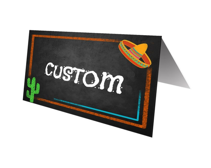 Fiesta Food Buffet placecards in chalkboard style - Custom wording - Birthday Fiesta Signage - PRINTABLE Diy tented cards
