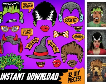 Halloween Photo Booth Props, INSTANT DOWNLOAD Printable PDF, digital download diy paper monster party decor, print & make masks, 32 pieces