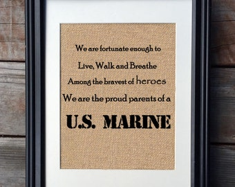 Proud Marine Parents Military Burlap Print | Mother's Day Gift | Marine Family Print | Military Family Print
