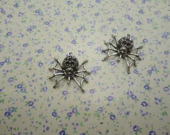 12 pcs of antique silver color metal spider pendant charm , 30*30mm , MP388