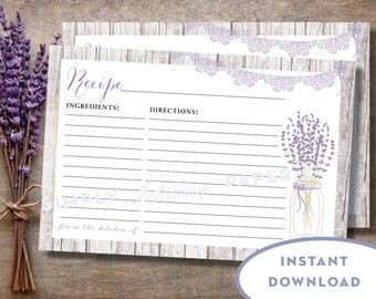 Printable Editable Recipe Card Mason Jar Country Chic Bridal Shower Recipe Card Kitchen Shower INSTANT DOWNLOAD Lavender 6x4