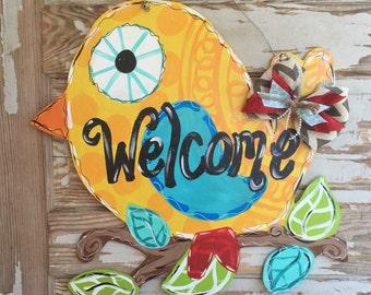 Bird Classroom Welcome Home Spring Summer Bright Door Hanger