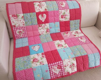 Handmade and handquilted Patchwork Quilt / Throw     with appliqued Hearts