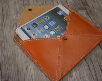 Hand Stitched iPad Mini Sleeve, Premium Yellow Leather iPad Mini Case - Custom Kindle, Nexus, Samsung, Kobo Covers