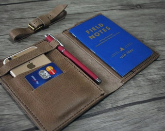 Leather Portfolio, Notebook Covers, iPhone 6 Sleeve, Hand Sewn Covers for Small Moleskine From Top Quality Rustic Khaki Leather
