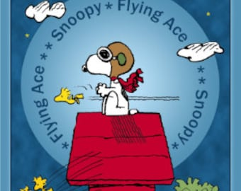 Snoopy The Flying Ace Fabric Panel by Quilting Treasures