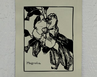Magnolia Wall Decor, Magnolia Tree Screen Print, Printed on Duck Cloth