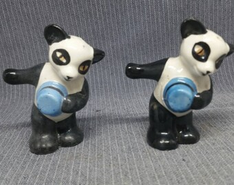 Vintage made in Japan pandas in hats salt and pepper shakers pair