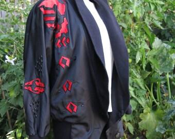 1980's Bomber Style/Bat-Wing Satin Jacket Size M