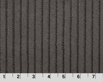 Charcoal Embossed Ribbon Minky Fabric, Shannon Fabrics, per Yard