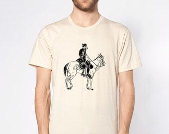 KillerBeeMoto: Cowboy On Horse Short Sleeve T-Shirt B&W Illustration