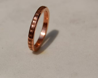 SWEET COPPER RING - Textured Copper Ring - Skinny Ring Band - Textured Band - Wedding Band - For Men & Women