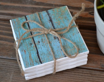 NEXT DAY SHIP Set of 4 Turquoise wood tile coasters  Birthday, holiday, Christmas, hostess Table drink coasters. Heat water safe cork bottom