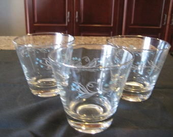 3 Vintage On the Rocks Glasses with Silver trim