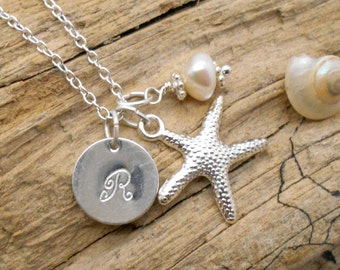 Personalized Starfish Necklace - Bridesmaid, Beach Wedding, Tropical, Beach Jewelry, Starfish Necklace, Initial Necklace