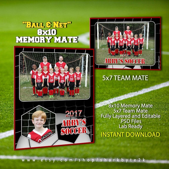 sports team photography templates - 2017 soccer sports memory mate template for photoshop ball