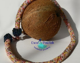 Bead crochet rope necklace