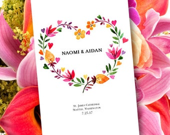 """Wedding Program """"Heart"""" Order of Service Make your Own Programs Foldover Word Template Instant Download DIY You Print"""
