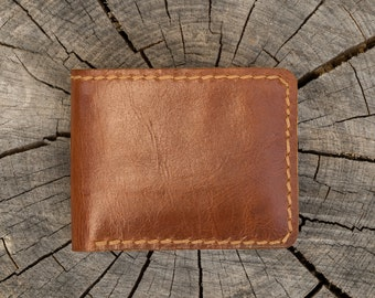 Hand made genuine leather men wallet light brown heavy duty last long hand sewing Father's day
