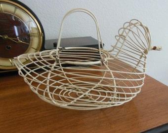 Vintage Wire Chicken Basket 1950's