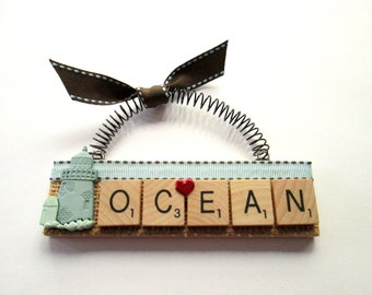 Ocean Sand Castle Scrabble Tile Ornament