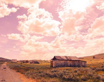 Pink Sky Photography, Deserted Landscape Photography, Landscape Photography, California, Bodie Ghost Town, Large Wall Art, Wall Decor