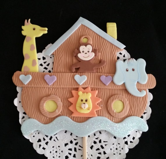 Noah 39 s ark cake topper noah 39 s ark baby shower by for Noah s ark decorations