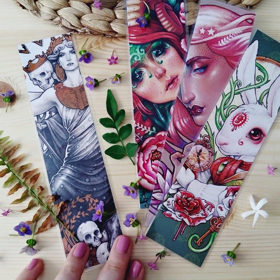 "3 BOOKMARKS pack  -  20x5cm/ 8x2"" approx - Laminated printed bookmarks by Medusa Dollmaker - ART COLLECTIBLES gifts for readers books"